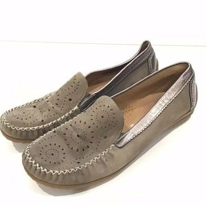 Gabor Brown Leather Suede Flats Slip On Shoes